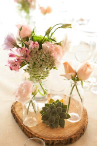 Small glass vases for rustic wedding centerpieces