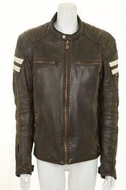 Segura Retro Brown Leather Motorcycle Jacket Medium