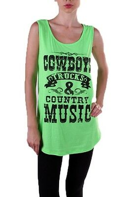 Plus Size 2X Green Cowboys Trucks & Country Music Cowgirl Racerback Tank Top - Plus Size Cowgirl