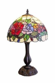 Brand New Tiffany Leadlight Table Lamp Rose Floral Flower Shade