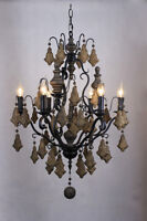 New 6 Light French Country Chateau Iron Chandelier Chalet Lampe