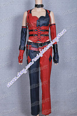 Arkham City Harley Quinn Cosplay Costume Leather Outfit Uniform Halloween
