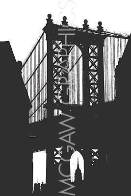 DUMBO Silhouette Down Under Manhattan Bridge Overpass Brooklyn Erin Clark 12x8 ()