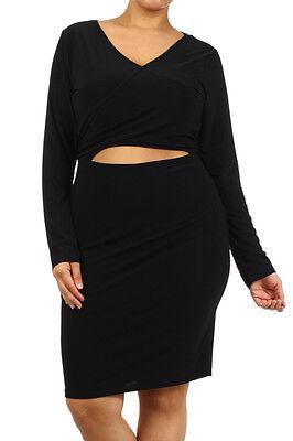 PLUS SIZE BODYCON CLUBWEAR SEXY BLACK DRESS FRONT KEYHOLE CUTOUT NEW 1X 2X 3X