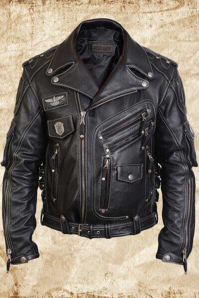 a258a51a5 MEN'S GENUINE COWHIDE PREMIUM LEATHER MOTORCYCLE BIKER TOP LEATHER JACKET  BLACK