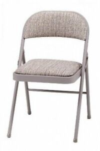Deluxe Padded Steel Fabric Folding Chair - Brown - MECO