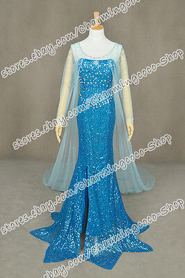 Frozen Cosplay The Snow Queen Princess Elsa Costume Party Dress With Train Cape](Snow Queen Cape)