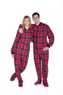 Red & Black Plaid Cotton Flannel Adult Footie Footed Pajamas w/ Drop seat Flannel Footed Pajamas