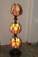 Antique Lamp, Brass and hand made shades