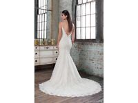 Justin Alexander wedding dress UK 10 short backless strappy bead embroideries