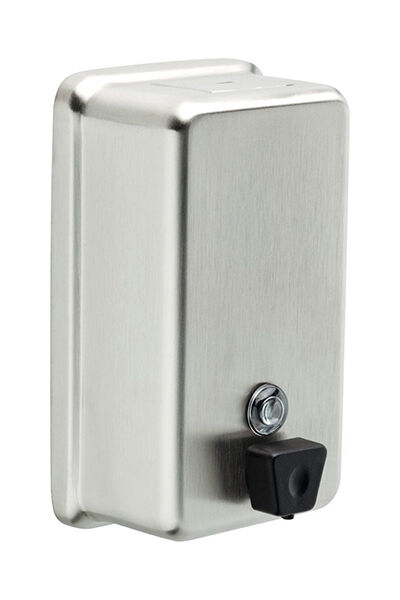 from deltas commercial line the stainless steel vertical soap dispenser holds up to 40 oz of liquid hand soap this rectangular wall mounted dispenser