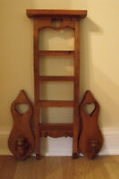 Wooden ladder shelf & candleholders