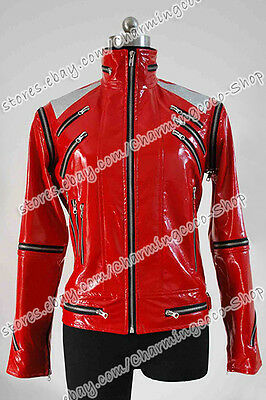 Michael Jackson Cosplay Costume Beat It Red Zipper Jacket Fashion Well Made - Michael Jackson Woman Costume