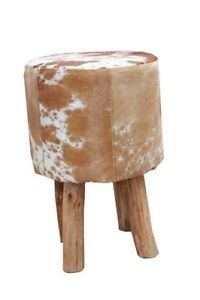 Genuine Cowhide Stool, Ottoman Pouffe Tan & White Sydney City Inner Sydney Preview