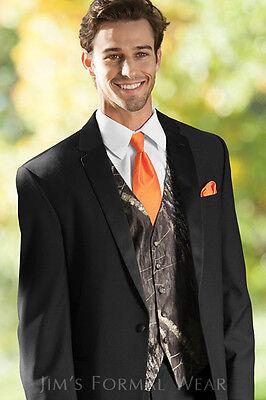 NEW Men's Mossy Oak Camo Tuxedo Vest Orange Tie Hankie Camouflage REAL POCKETS - Camo Tux