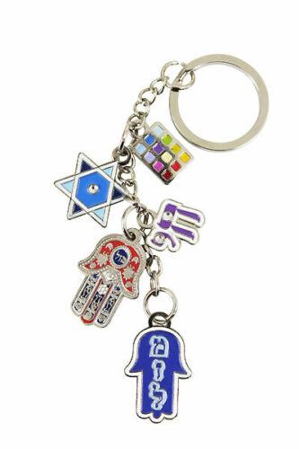 Jewish Judaica Key Chain with Hamsa, Star of David, Chai, Mazal, Hoshen