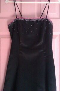 Women's dress black,lace in the back with pink bottom size 9