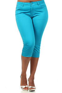 JZ Jeans JZ005-MC Womens Plus Size Capri Jeans Summer Colors (Extra Stretch)