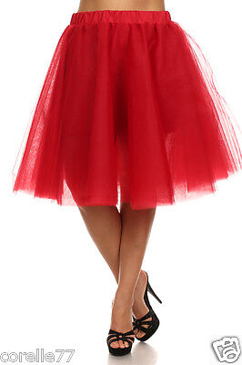 Plus Size Tutu Skirt (PLUS SIZE Sexy TuTu Tulle A-Line Pleated Long Tea Skirt RED sz)