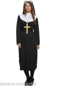 Ladies-Traditional-Catholic-Nun-Religious-Fancy-Dress-Costume-Outfit-Plus-Size