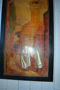 """INLAID WOOD PERSIAN PICTURE """"TWO WOMEN AND A MOSQUE"""" Gatineau Ottawa / Gatineau Area image 2"""