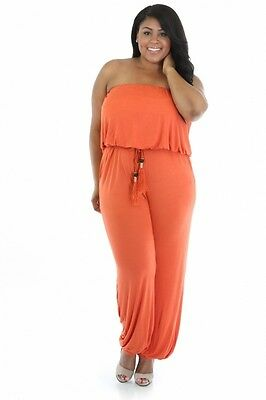Belted Tube Top (Plus Strapless Tube Top Belted Tie Pockets Jumpsuit Jogger Romper Jumper Pants)