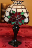 Retired Poinsettia Stained Glass Tiffany Style Tealight-Partylit