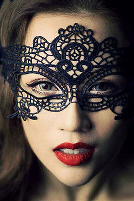 Gothic Black Venetian Masquerade Mask Eye Halloween Party Lace Fancy Dress UK