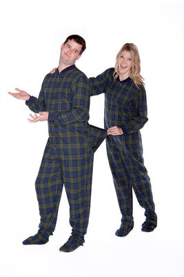 Navy Blue & Green Plaid Flannel Adult Mens Footed Pajamas w/ Rear Flap Sleeper Flannel Footed Pajamas