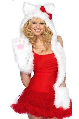 Fell-Mütze mit Handschuh-Schal SWEET KITTY Kostüm für Straßenkarneval Hello