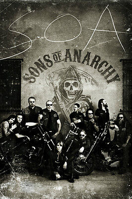 Sons Of Anarchy Vintage Poster 24X36 Crew Black   White Hogs Motorcycle Club Tv