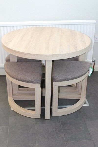 Stowaway Dining Set Contemporary Space Saver Table Stools