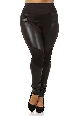 Womens PLUS Size Black Fashion Faux Leather Panel Leggings Pants 1X 2X 3X - Faux Leather Panel Leggings