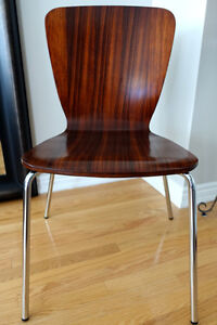 4 Cherry Wood Chair with Chrome Base