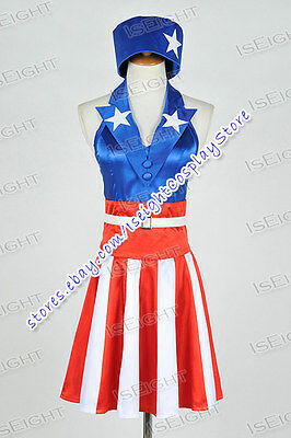 The Avengers Captain America Cosplay Costume Dress Red Stripes Skirt Halloween - Striped Skirt Halloween Costume