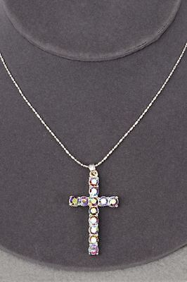 Cross Necklace with Iridescent Rainbow Rhinestones - Size 1