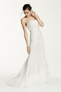 Lace Overlay Charmeuse Wedding Dress with Train