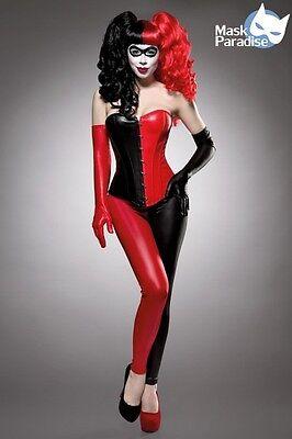 Sexy Harlekin Kostüm Lederoptik Corsage Leggings Handschuhe Rot/Schwarz Karneval