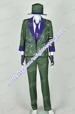 Arkham City Riddler Halloween Costume (Arkham City Cosplay The Riddler Dr Edward Nigma Costume Suit Green Halloween)