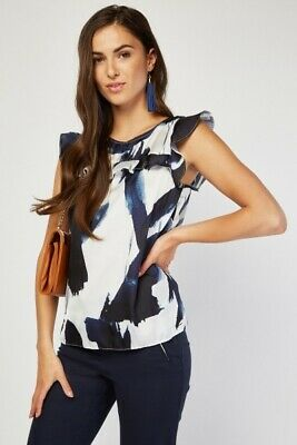 Ladies Tye Die Frilled Top White SATIN w/ Shades of Navy Sizes 8 10 12 14 (Top 10 Sunglasses Brands For Women)