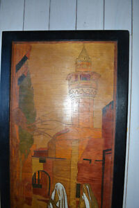 """INLAID WOOD PERSIAN PICTURE """"TWO WOMEN AND A MOSQUE"""" Gatineau Ottawa / Gatineau Area image 3"""