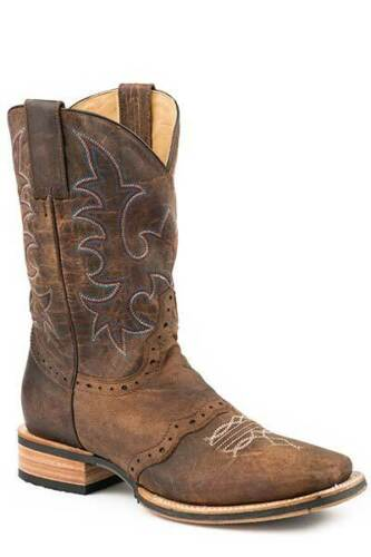 """Stetson Footwear Mens Wide SQ Toe 11"""" Shaft Basic Oily Brown Vamp D With"""