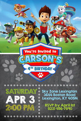 Paw Patrol Invitations - Personalized - Birthday Party - Shipped or Printable - Paw Patrol Birthday Invites