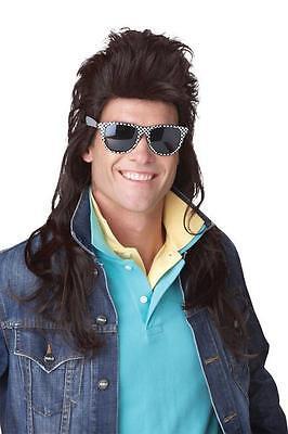 80's Rock Mullet Adult Costume Wig -Black - Rock Mullet