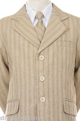 BOY Khaki pin Stripe Formal Dress Tuxedo w/Vest 5-piece Suit Set size S-XL 2T-20