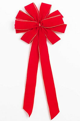 Christmas Red Outdoor Waterproof Ribbon Bow with Wired Gold Purl Edge - Outdoor Christmas Bows