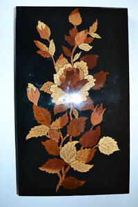 Multi Wood Inlay Picture with Flowers from Persia 10X16 inches