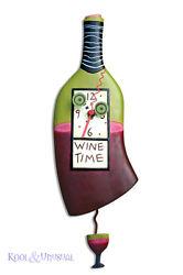 Elegant WINE TIME Wine Bottle Designer Wall Clock by Allen Designs