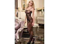 Black sheer string sleeve crotchless lingerie body stockings fit size 10/12