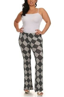 PLUS SIZE 1X 2X 3X BLACK WHITE DIAMOND DESIGN THIN BELL BOTTOM PANTS - Plus Size Bell Bottoms
